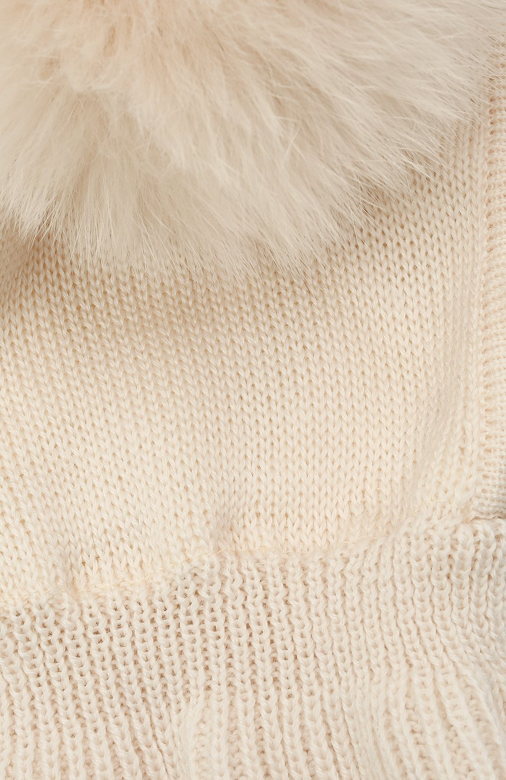 Детского шерстяная шапка-балаклава CATYA кремвого цвета, арт. 125617/2J | Фото 3 (Материал: Шерсть)