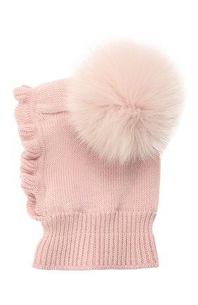 Детского шерстяная шапка-балаклава CATYA розового цвета, арт. 125617/2J | Фото 1
