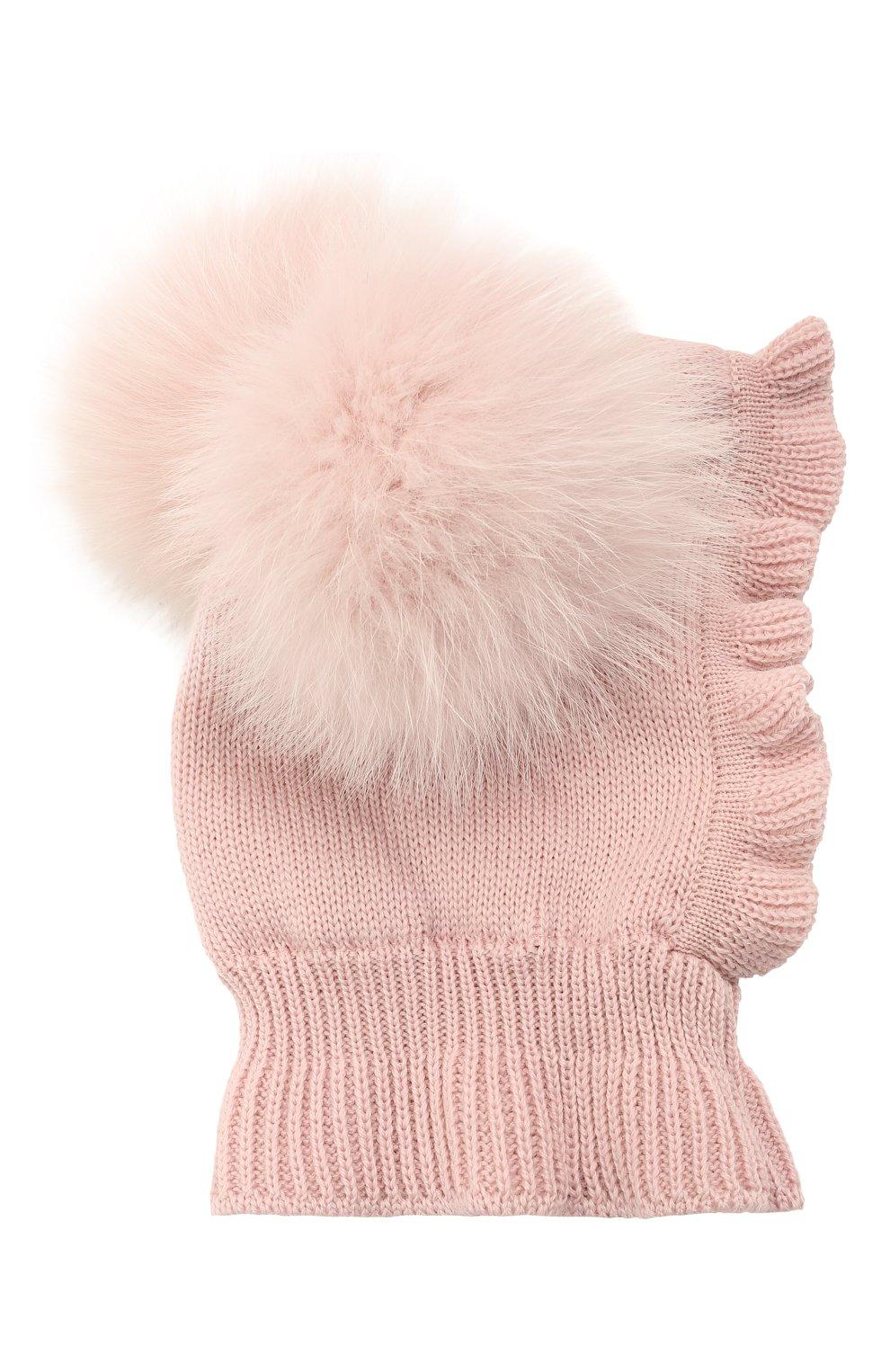 Детского шерстяная шапка-балаклава CATYA розового цвета, арт. 125617/2J | Фото 2 (Материал: Шерсть)