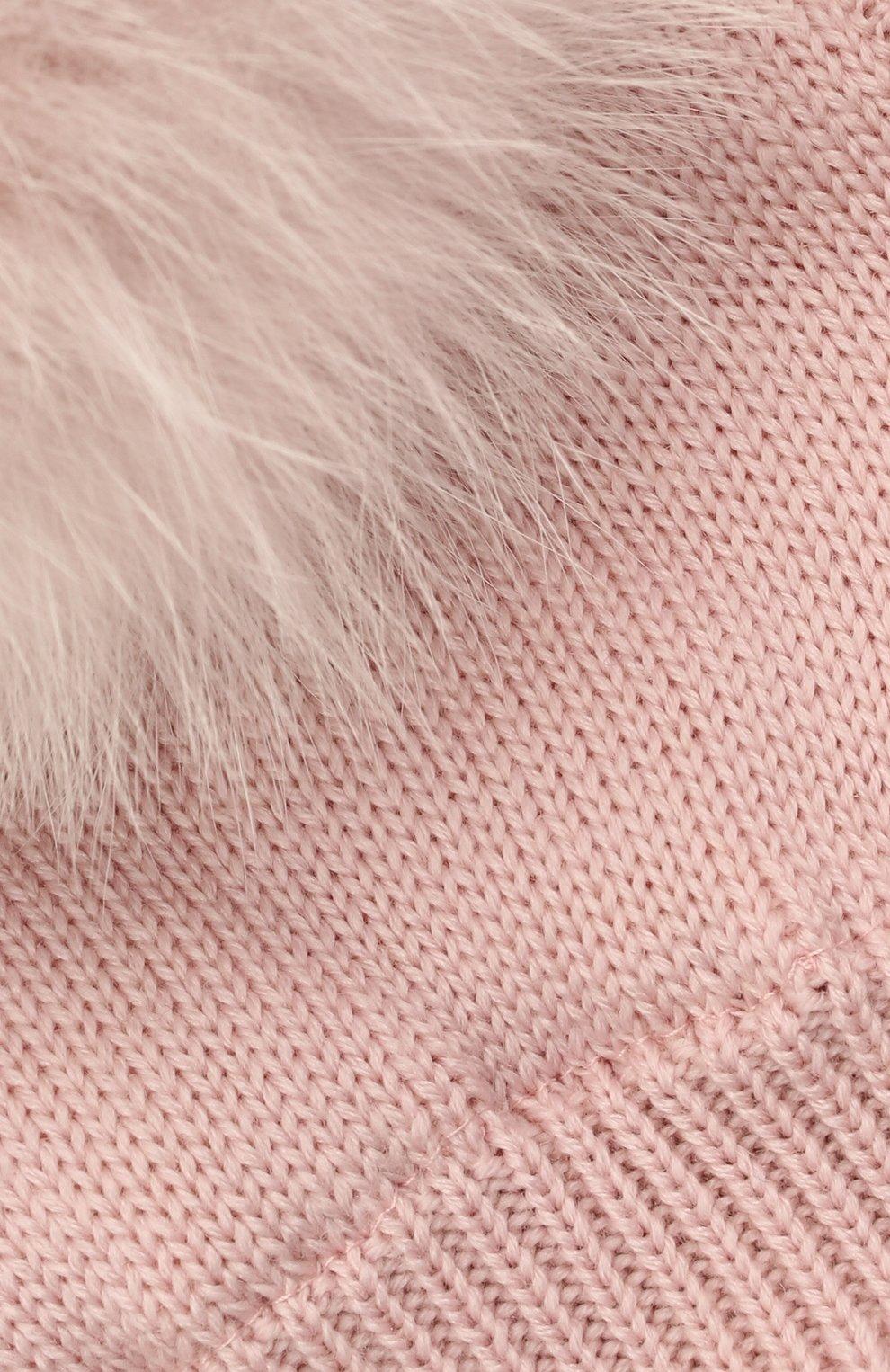 Детского шерстяная шапка-балаклава CATYA розового цвета, арт. 125617/2J | Фото 3 (Материал: Шерсть)