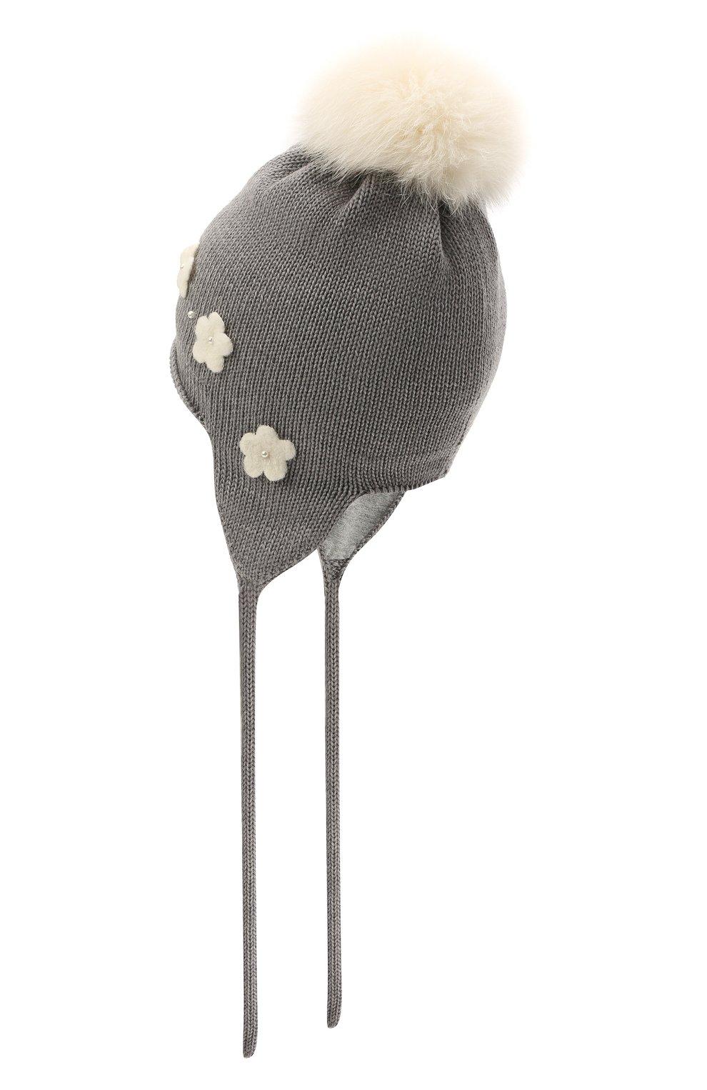 Детского шерстяная шапка с меховой отделкой CATYA серого цвета, арт. 125574/J0F | Фото 2 (Материал: Шерсть)