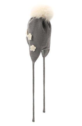 Детского шерстяная шапка с меховой отделкой CATYA серого цвета, арт. 125574/J0 | Фото 2