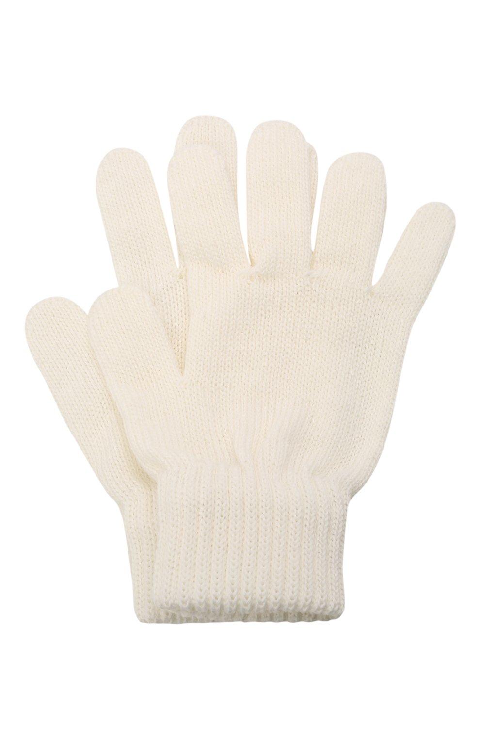 Детские шерстяные перчатки CATYA белого цвета, арт. 125545   Фото 1 (Материал: Шерсть)
