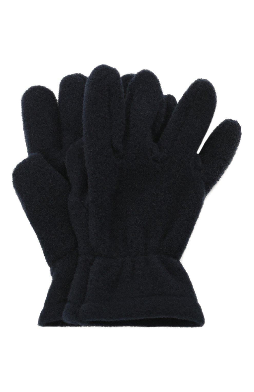 Детские перчатки CATYA темно-синего цвета, арт. 125543 | Фото 1 (Материал: Текстиль, Синтетический материал)