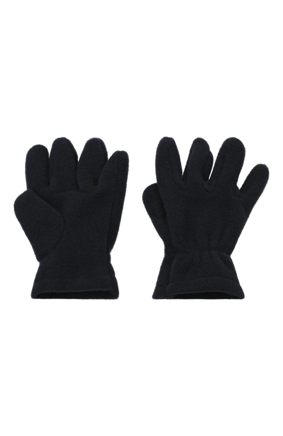 Детские перчатки CATYA темно-синего цвета, арт. 125543 | Фото 2 (Материал: Текстиль, Синтетический материал)