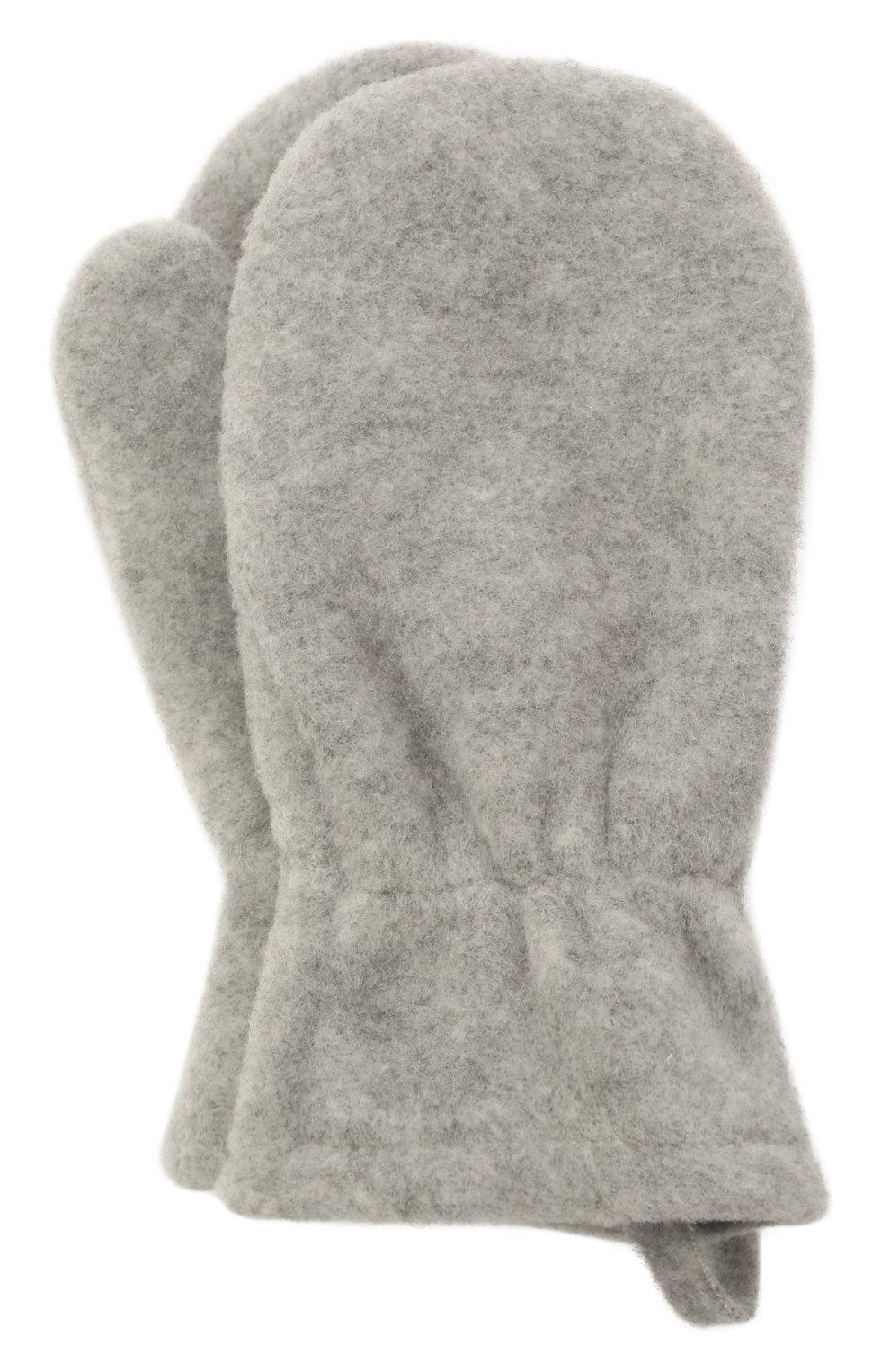 Детские варежки CATYA серого цвета, арт. 125542   Фото 1 (Материал: Текстиль, Синтетический материал)