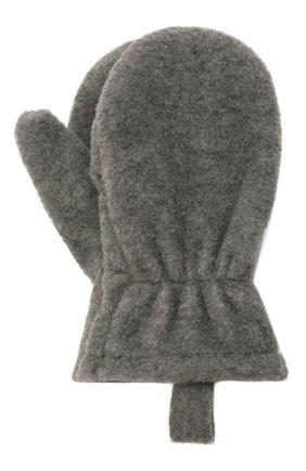 Детские варежки CATYA темно-серого цвета, арт. 125542 | Фото 1 (Материал: Текстиль, Синтетический материал)