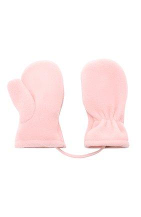 Детские варежки CATYA розового цвета, арт. 125542 | Фото 2 (Материал: Текстиль, Синтетический материал)