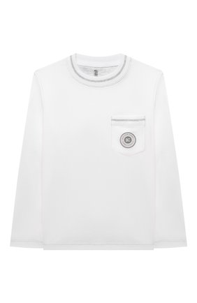 Детская хлопковый пуловер BRUNELLO CUCINELLI белого цвета, арт. B0B13T172B | Фото 1 (Материал внешний: Хлопок; Рукава: Длинные; Мальчики Кросс-КТ: Лонгслив-одежда; Ростовка одежда: 10 - 11 лет | 140 - 146см, 8 лет | 128 см)