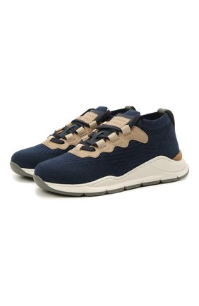 Детские текстильные кроссовки BRUNELLO CUCINELLI темно-синего цвета, арт. BPMBGZM122   Фото 1