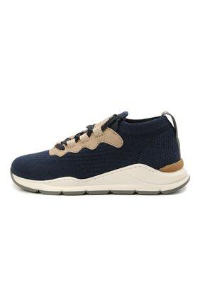 Детские текстильные кроссовки BRUNELLO CUCINELLI темно-синего цвета, арт. BPMBGZM122   Фото 2