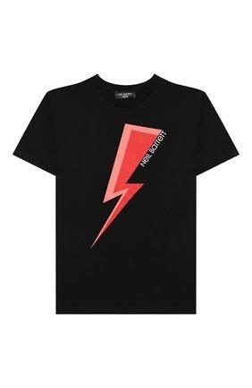 Детская хлопковая футболка NEIL BARRETT KIDS черного цвета, арт. 028934 | Фото 1