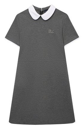Детское платье из вискозы DAL LAGO темно-серого цвета, арт. R244A/8111/7-12 | Фото 1