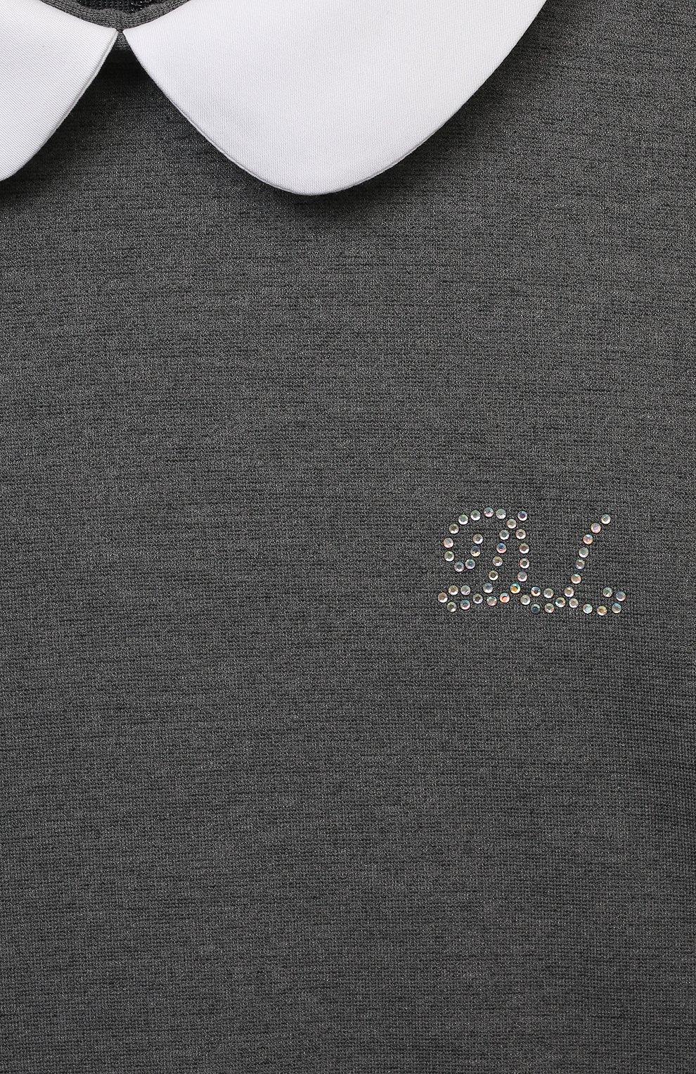 Детское платье из вискозы DAL LAGO темно-серого цвета, арт. R244A/8111/7-12   Фото 3 (Рукава: Короткие; Случай: Повседневный; Материал внешний: Вискоза; Девочки Кросс-КТ: Платье-одежда; Ростовка одежда: 10 - 11 лет   140 - 146см, 12 лет   152 см, 7 лет   122 см, 8 лет   128 см, 9 лет   134 см)
