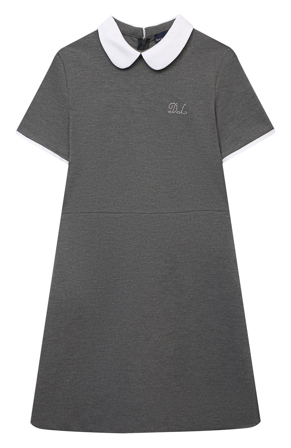 Детское платье из вискозы DAL LAGO темно-серого цвета, арт. R244A/8111/13-16   Фото 1 (Рукава: Короткие; Случай: Повседневный; Материал внешний: Вискоза; Девочки Кросс-КТ: Платье-одежда; Ростовка одежда: 13 - 15 лет   158 см)
