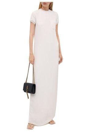 Женское шелковое платье RALPH LAUREN молочного цвета, арт. 290845610 | Фото 2 (Материал подклада: Шелк; Рукава: Короткие; Материал внешний: Шелк; Длина Ж (юбки, платья, шорты): Макси; Стили: Кэжуэл; Женское Кросс-КТ: Платье-одежда; Кросс-КТ: Трикотаж; Случай: Повседневный)