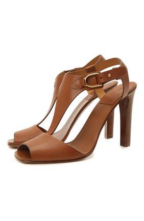 Женские кожаные босоножки emilie RALPH LAUREN коричневого цвета, арт. 800841323 | Фото 1 (Материал внутренний: Натуральная кожа; Каблук высота: Высокий; Каблук тип: Устойчивый; Подошва: Плоская)