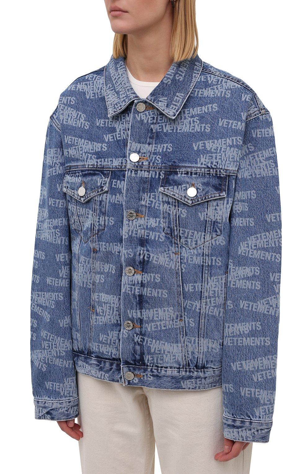 Женская джинсовая куртка VETEMENTS синего цвета, арт. UA52JA250B 2803/W | Фото 3