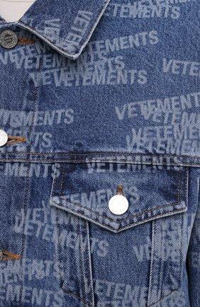 Женская джинсовая куртка VETEMENTS синего цвета, арт. UA52JA250B 2803/W | Фото 5