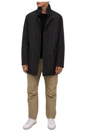 Мужской утепленный плащ BOSS черного цвета, арт. 50454433 | Фото 2 (Материал внешний: Синтетический материал; Рукава: Длинные; Материал подклада: Синтетический материал; Длина (верхняя одежда): До середины бедра; Мужское Кросс-КТ: Плащ-верхняя одежда; Стили: Кэжуэл)