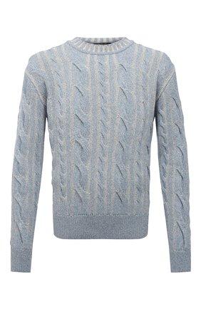 Мужской кашемировый свитер LORO PIANA голубого цвета, арт. FAL7106 | Фото 1 (Материал внешний: Кашемир, Шерсть; Принт: Без принта; Стили: Кэжуэл; Рукава: Длинные; Длина (для топов): Стандартные; Мужское Кросс-КТ: Свитер-одежда)