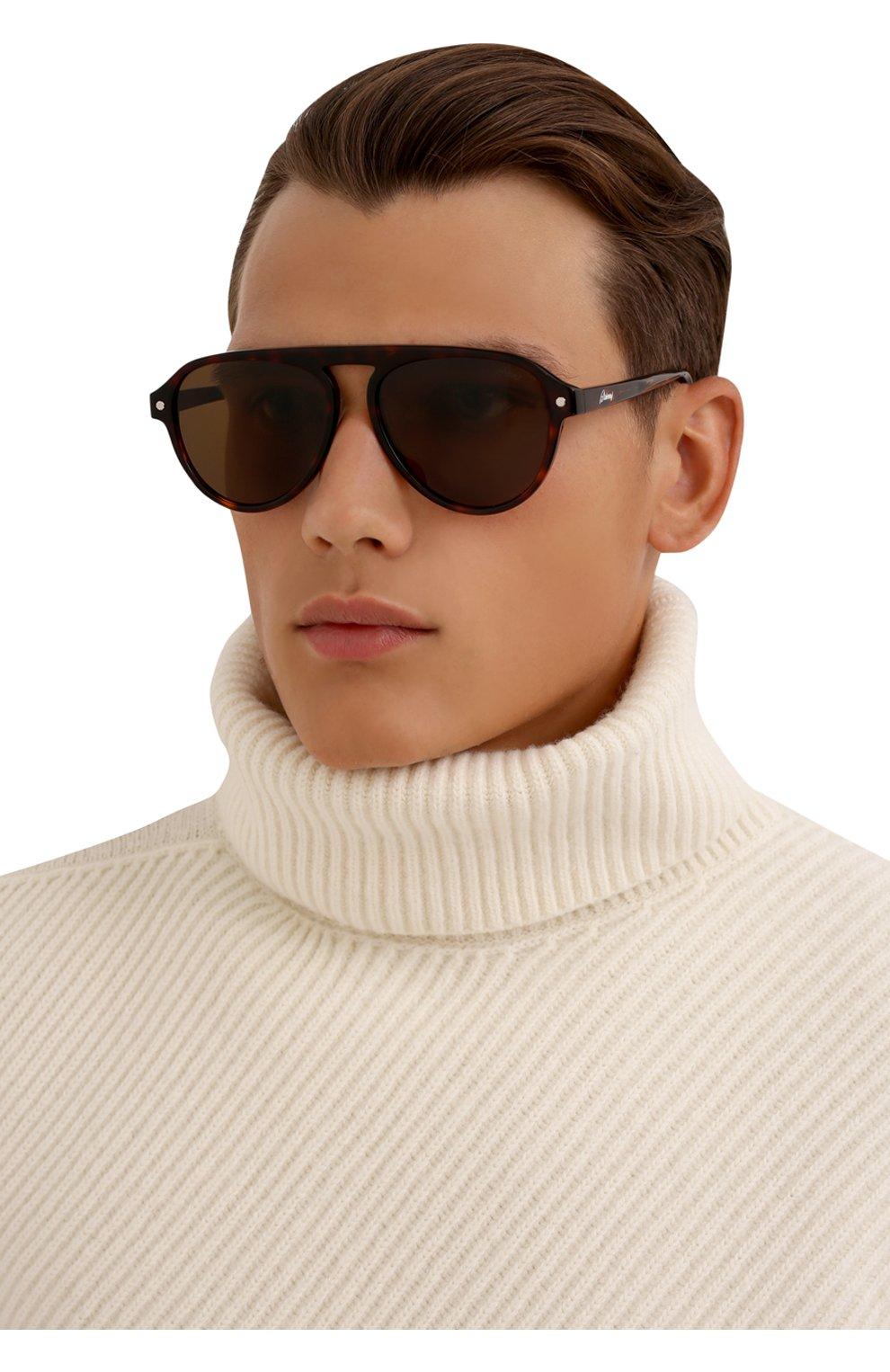 Мужские солнцезащитные очки BRIONI коричневого цвета, арт. 0DE100/P3ZAC | Фото 2 (Материал: Пластик; Тип очков: С/з; Очки форма: Авиаторы; Оптика Гендер: оптика-мужское)
