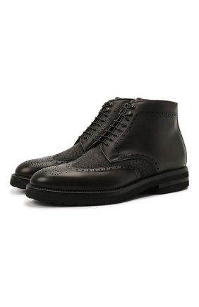 Мужские комбинированные ботинки W.GIBBS темно-коричневого цвета, арт. 0128007/1910 | Фото 1
