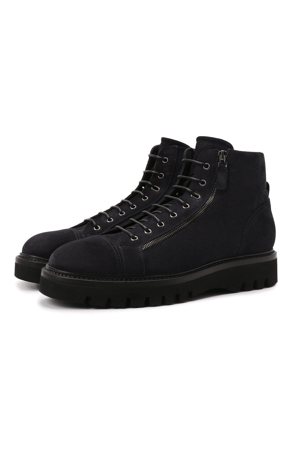 Мужские замшевые ботинки W.GIBBS синего цвета, арт. 0672001/2576 | Фото 1 (Материал утеплителя: Натуральный мех; Мужское Кросс-КТ: Ботинки-обувь, зимние ботинки; Подошва: Массивная; Материал внешний: Замша)