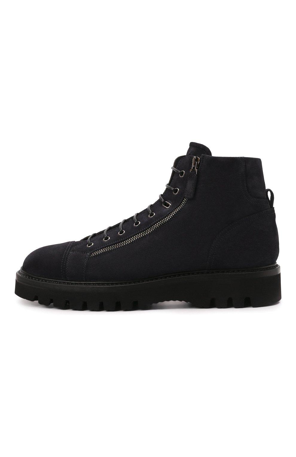 Мужские замшевые ботинки W.GIBBS синего цвета, арт. 0672001/2576 | Фото 3 (Материал утеплителя: Натуральный мех; Мужское Кросс-КТ: Ботинки-обувь, зимние ботинки; Подошва: Массивная; Материал внешний: Замша)