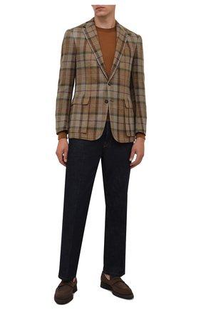 Мужские замшевые пенни-лоферы BRIONI коричневого цвета, арт. QEI50L/09708 | Фото 2 (Материал внутренний: Натуральная кожа; Материал внешний: Замша; Стили: Классический)