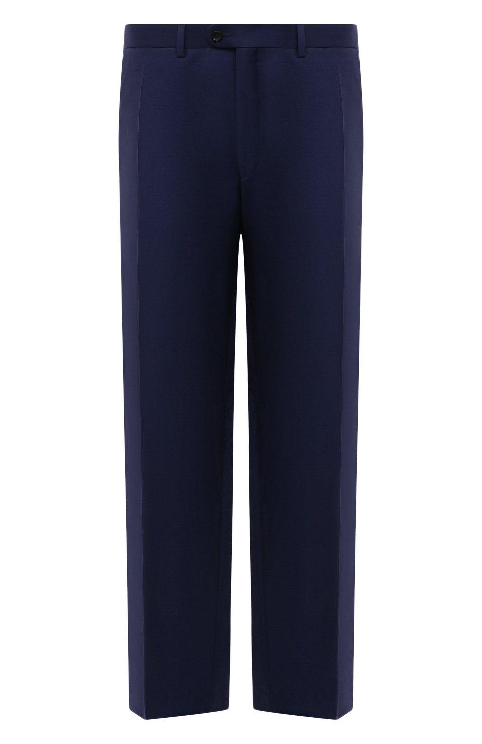 Мужские шерстяные брюки EDUARD DRESSLER темно-синего цвета, арт. N282/10001_2   Фото 1 (Big sizes: Big Sizes; Материал внешний: Шерсть; Длина (брюки, джинсы): Стандартные; Стили: Классический; Случай: Формальный; Материал подклада: Купро)