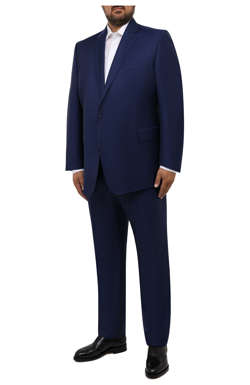 Мужские шерстяные брюки EDUARD DRESSLER темно-синего цвета, арт. N282/10001_2   Фото 2 (Big sizes: Big Sizes; Материал внешний: Шерсть; Длина (брюки, джинсы): Стандартные; Стили: Классический; Случай: Формальный; Материал подклада: Купро)