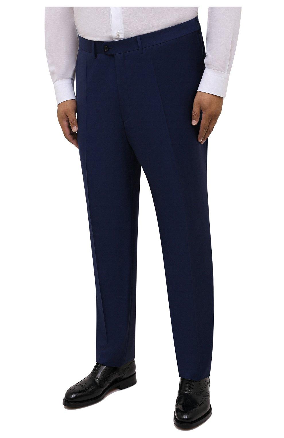 Мужские шерстяные брюки EDUARD DRESSLER темно-синего цвета, арт. N282/10001_2   Фото 3 (Big sizes: Big Sizes; Материал внешний: Шерсть; Длина (брюки, джинсы): Стандартные; Стили: Классический; Случай: Формальный; Материал подклада: Купро)