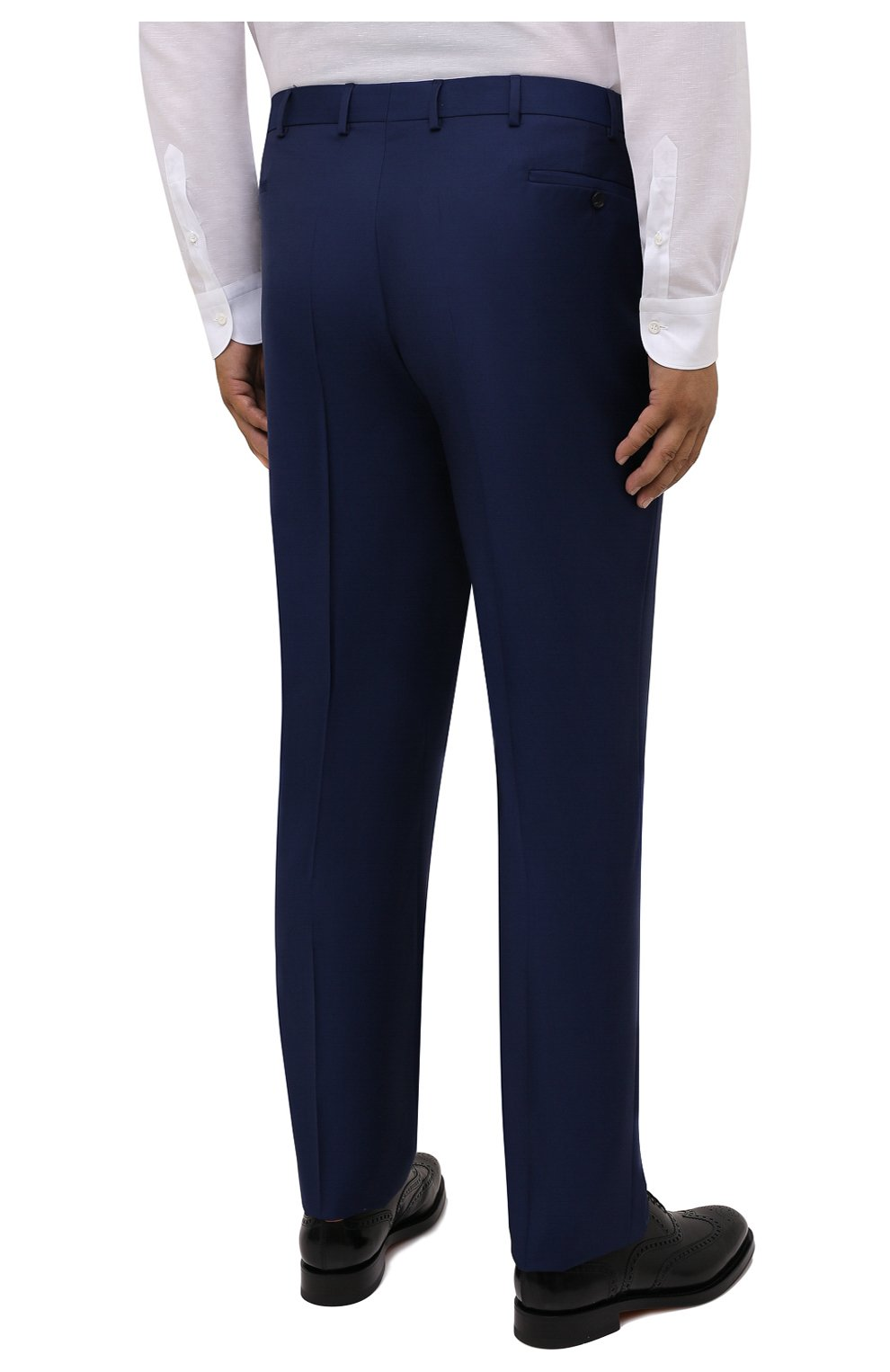 Мужские шерстяные брюки EDUARD DRESSLER темно-синего цвета, арт. N282/10001_2   Фото 4 (Big sizes: Big Sizes; Материал внешний: Шерсть; Длина (брюки, джинсы): Стандартные; Стили: Классический; Случай: Формальный; Материал подклада: Купро)
