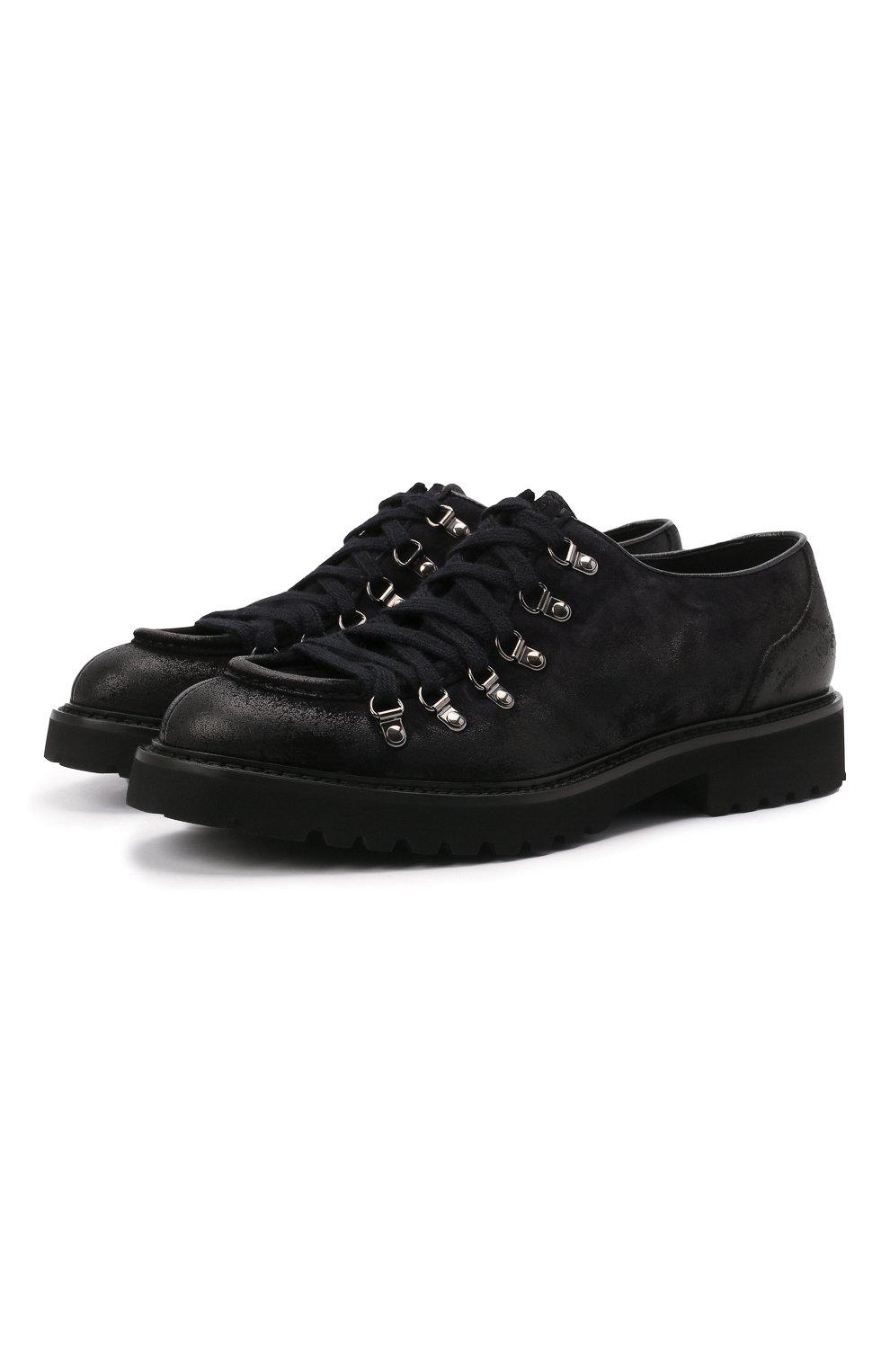 Мужские кожаные ботинки DOUCAL'S темно-синего цвета, арт. DU2736PHILUF205NB00   Фото 1 (Мужское Кросс-КТ: Ботинки-обувь; Материал внутренний: Натуральная кожа; Подошва: Плоская)