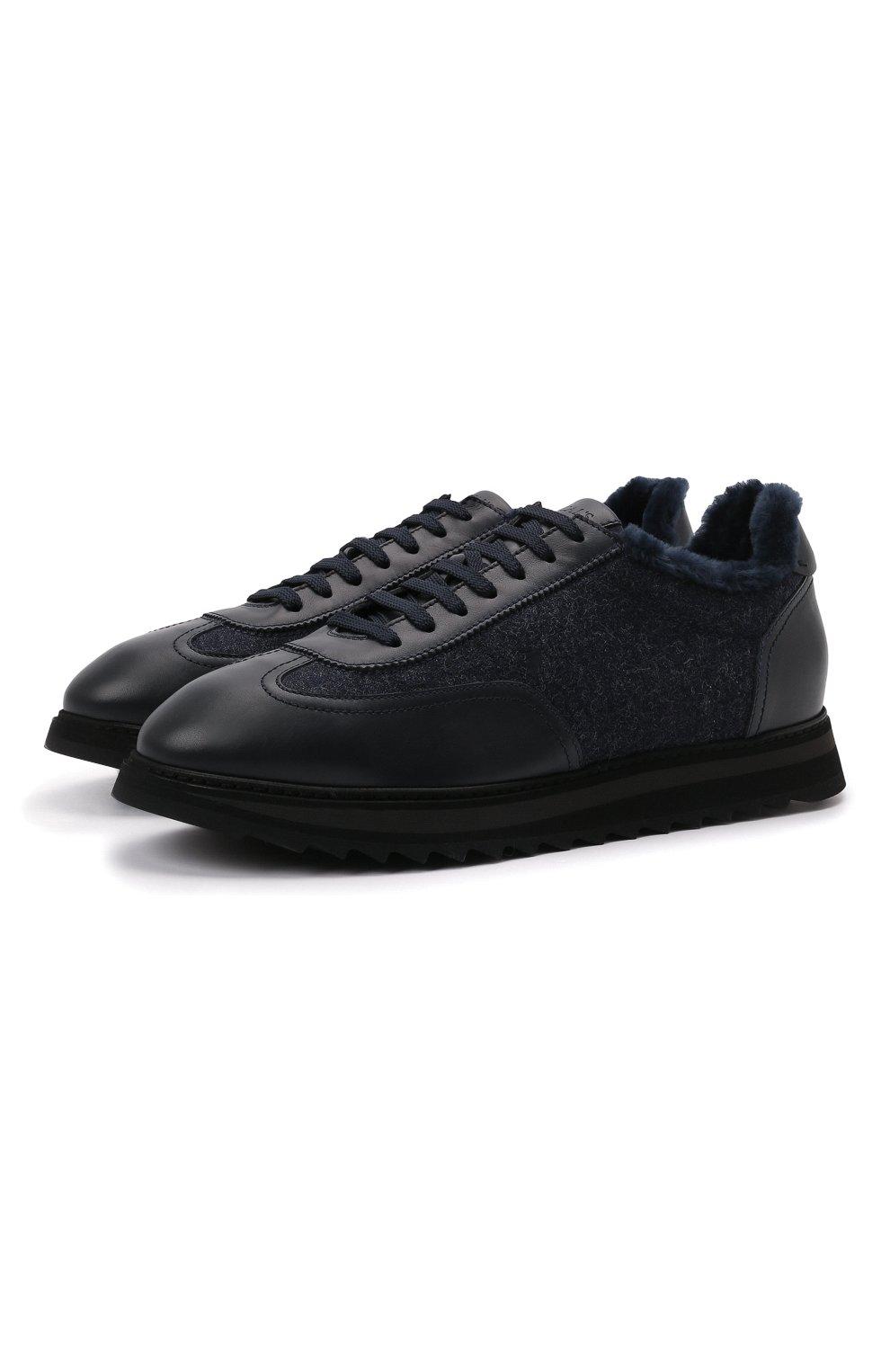 Мужские комбинированные кроссовки DOUCAL'S темно-синего цвета, арт. DU2880WINNPM4672B00 | Фото 1 (Материал внешний: Текстиль; Материал утеплителя: Натуральный мех; Стили: Классический; Подошва: Массивная)