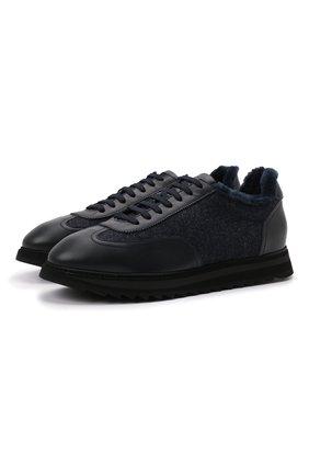 Мужские комбинированные кроссовки DOUCAL'S темно-синего цвета, арт. DU2880WINNPM4672B00 | Фото 1 (Материал утеплителя: Натуральный мех; Подошва: Массивная; Материал внешний: Текстиль; Стили: Классический)