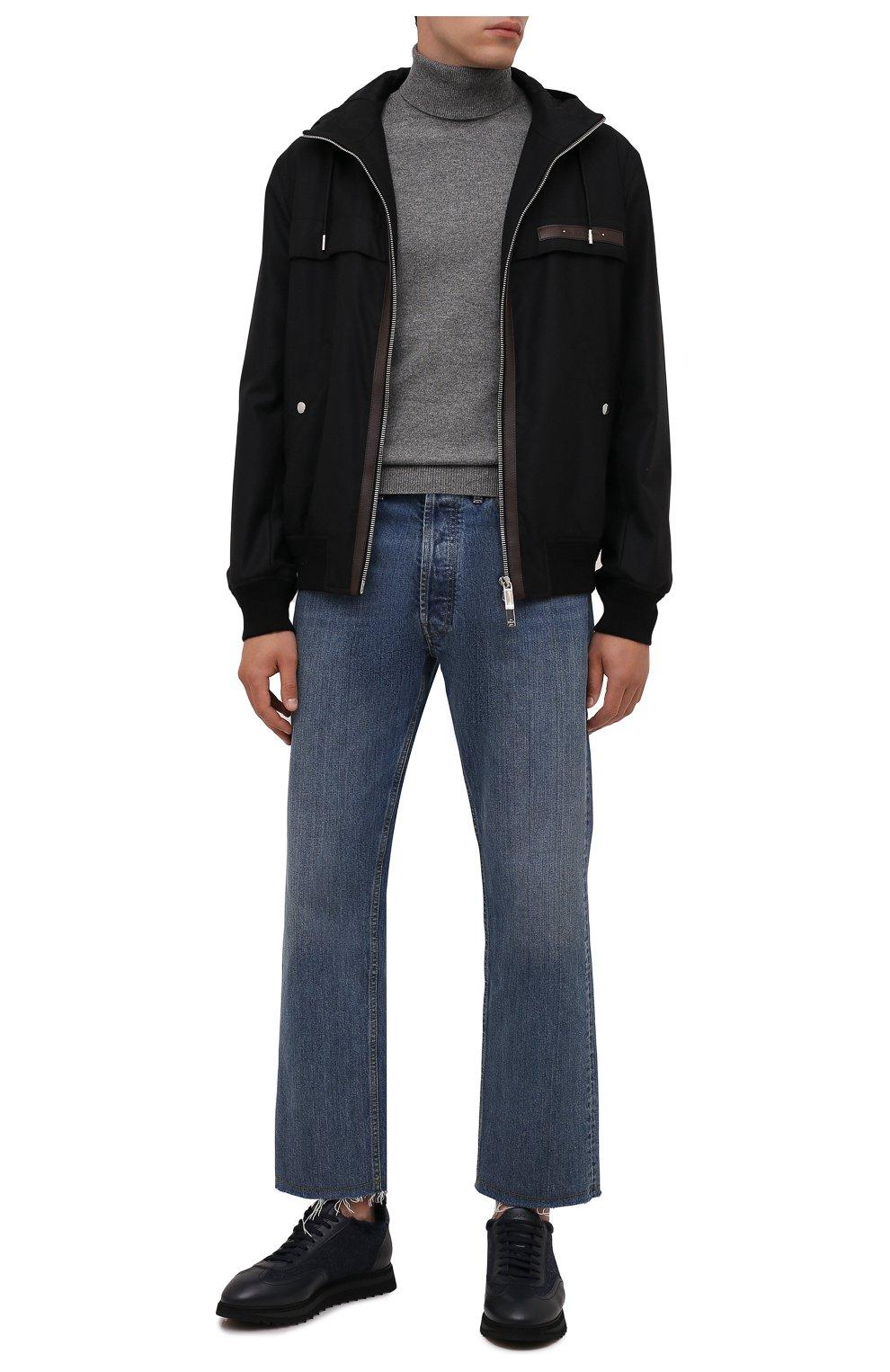 Мужские комбинированные кроссовки DOUCAL'S темно-синего цвета, арт. DU2880WINNPM4672B00 | Фото 2 (Материал внешний: Текстиль; Материал утеплителя: Натуральный мех; Стили: Классический; Подошва: Массивная)