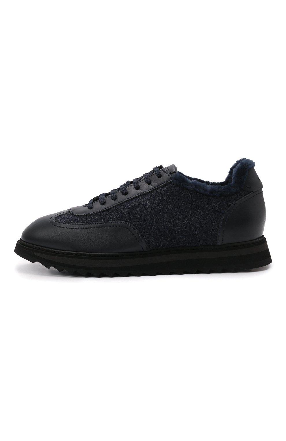 Мужские комбинированные кроссовки DOUCAL'S темно-синего цвета, арт. DU2880WINNPM4672B00 | Фото 3 (Материал внешний: Текстиль; Материал утеплителя: Натуральный мех; Стили: Классический; Подошва: Массивная)