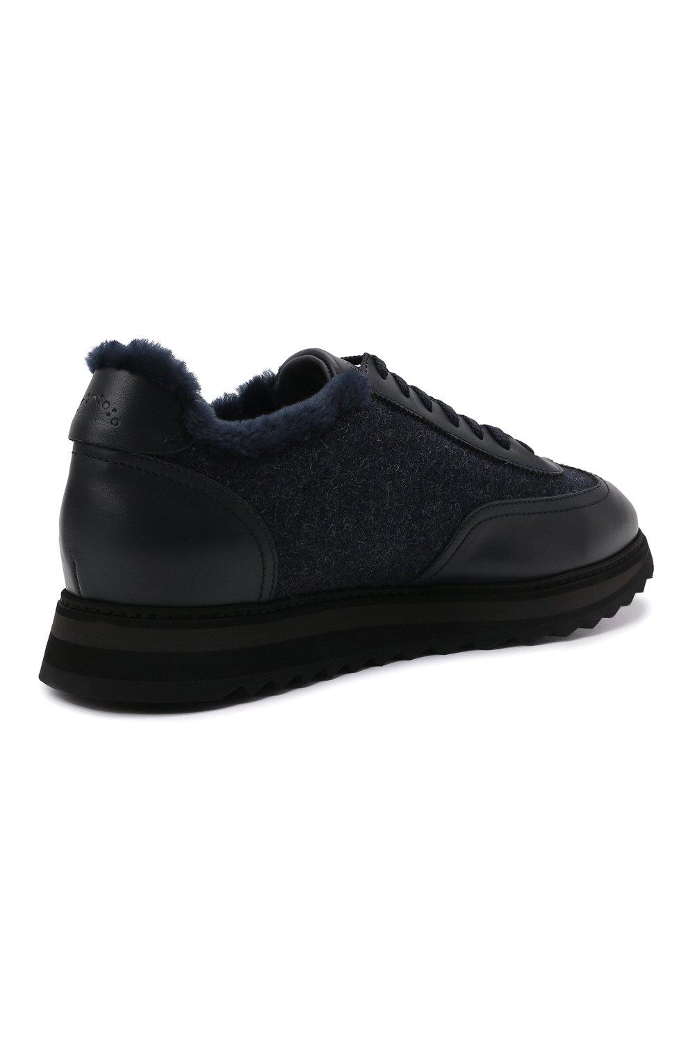 Мужские комбинированные кроссовки DOUCAL'S темно-синего цвета, арт. DU2880WINNPM4672B00 | Фото 4 (Материал внешний: Текстиль; Материал утеплителя: Натуральный мех; Стили: Классический; Подошва: Массивная)