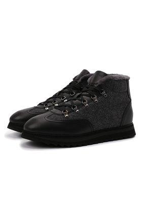 Мужские комбинированные ботинки DOUCAL'S темно-серого цвета, арт. DU2881WINNPM4672N00 | Фото 1 (Материал внешний: Текстиль; Материал утеплителя: Натуральный мех; Подошва: Массивная; Мужское Кросс-КТ: Ботинки-обувь, зимние ботинки)