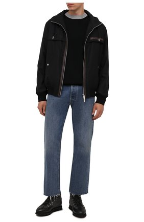 Мужские комбинированные ботинки DOUCAL'S темно-серого цвета, арт. DU2881WINNPM4672N00 | Фото 2 (Материал внешний: Текстиль; Материал утеплителя: Натуральный мех; Подошва: Массивная; Мужское Кросс-КТ: Ботинки-обувь, зимние ботинки)