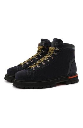 Мужские замшевые ботинки SANTONI темно-синего цвета, арт. MBSN21591NANERAUU60 | Фото 1 (Материал внутренний: Натуральная кожа; Мужское Кросс-КТ: Ботинки-обувь; Материал внешний: Замша; Подошва: Массивная)