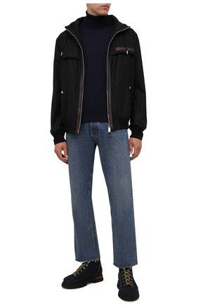 Мужские замшевые ботинки SANTONI темно-синего цвета, арт. MBSN21591NANERAUU60 | Фото 2 (Материал внутренний: Натуральная кожа; Мужское Кросс-КТ: Ботинки-обувь; Материал внешний: Замша; Подошва: Массивная)