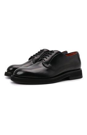 Мужские кожаные дерби SANTONI черного цвета, арт. MCCG17774JW2IPWEN01 | Фото 1