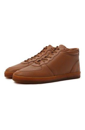 Мужские кожаные кеды BRUNELLO CUCINELLI коричневого цвета, арт. MZULNMN273 | Фото 1 (Материал утеплителя: Натуральный мех; Подошва: Плоская)