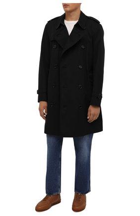 Мужские кожаные кеды BRUNELLO CUCINELLI коричневого цвета, арт. MZULNMN273 | Фото 2 (Материал утеплителя: Натуральный мех; Подошва: Плоская)