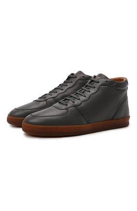 Мужские кожаные кеды BRUNELLO CUCINELLI темно-серого цвета, арт. MZULNMN273 | Фото 1 (Материал утеплителя: Натуральный мех; Подошва: Плоская)