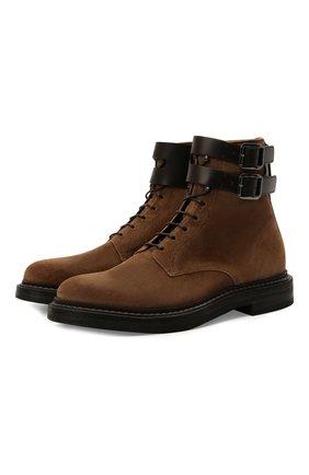 Мужские замшевые ботинки BRUNELLO CUCINELLI светло-коричневого цвета, арт. MZUPLNU174 | Фото 1 (Материал внутренний: Натуральная кожа; Подошва: Плоская; Мужское Кросс-КТ: Ботинки-обувь; Материал внешний: Замша)