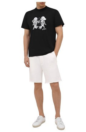 Мужские хлопковые шорты DOMREBEL кремвого цвета, арт. MSWEAT/SH0RT | Фото 2 (Материал внешний: Хлопок; Кросс-КТ: Трикотаж; Стили: Спорт-шик; Принт: Без принта; Длина Шорты М: До колена)